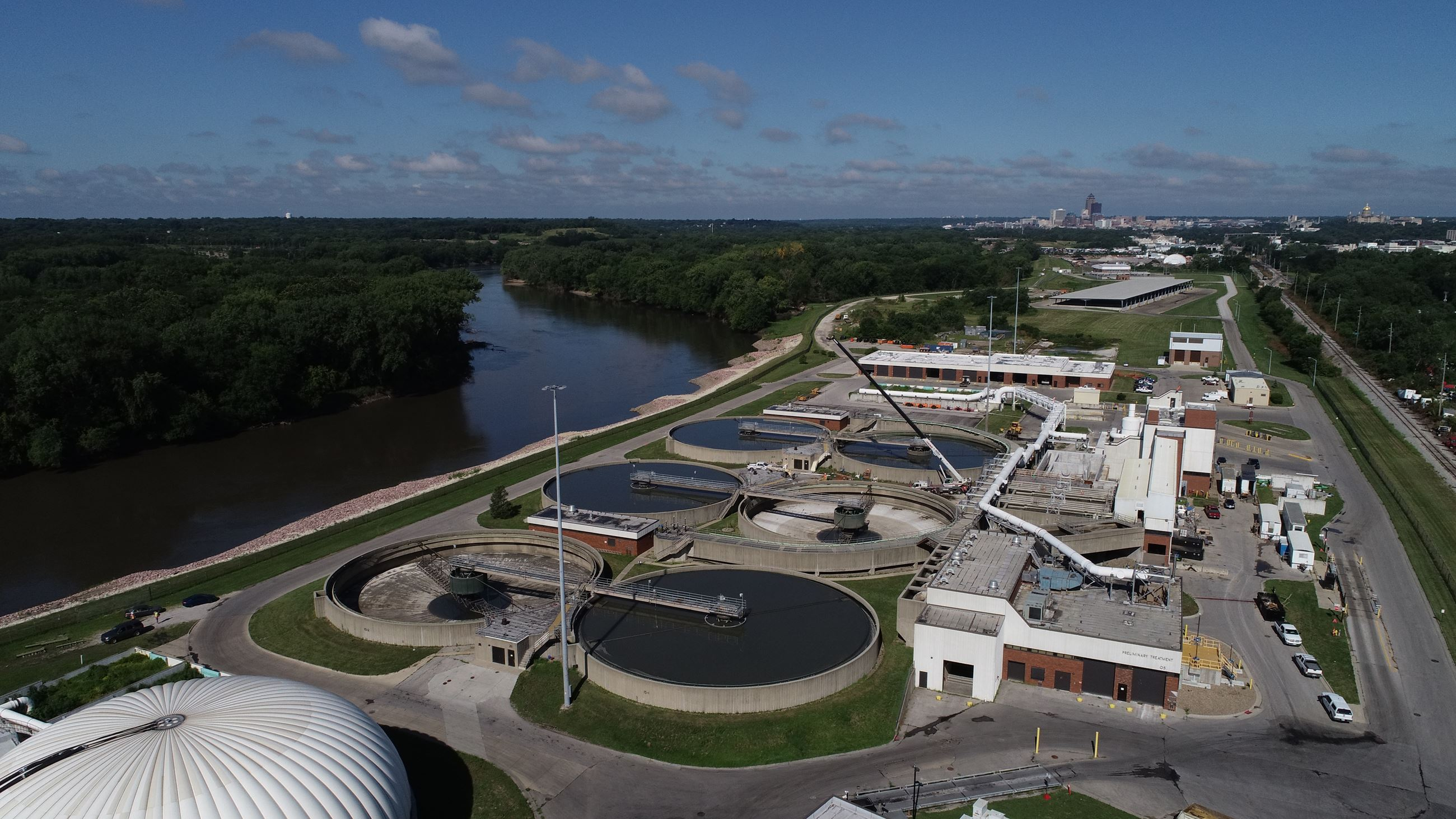 Aerial of the Primary Clarifiers