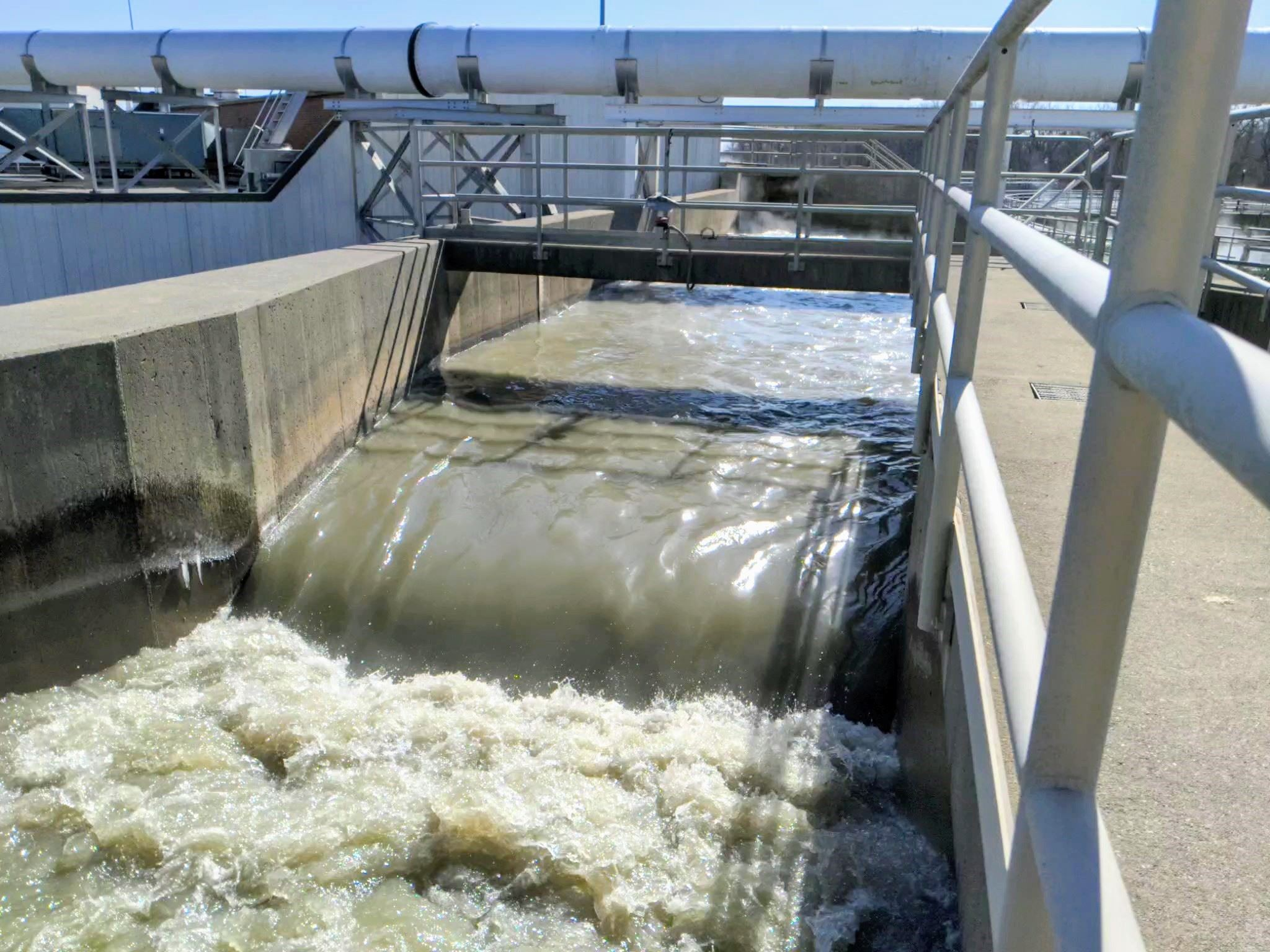 Wastewater flowing through flume