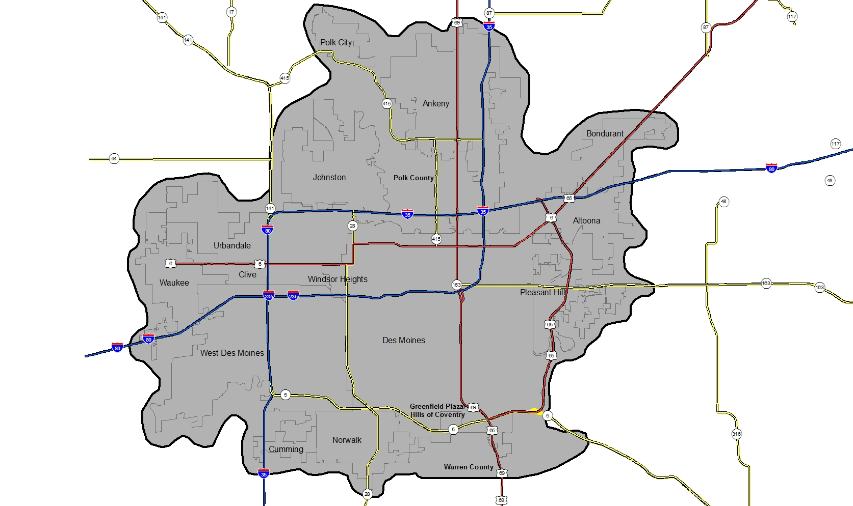 A map of the Des Moines metro area showing the Des Moines Metropolitan WRA's service area.