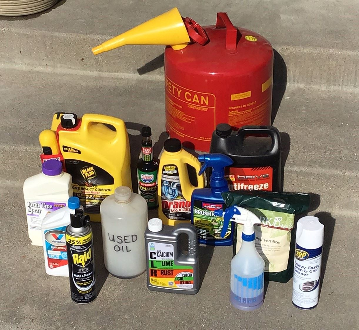 Various containers of Household Hazardous Waste